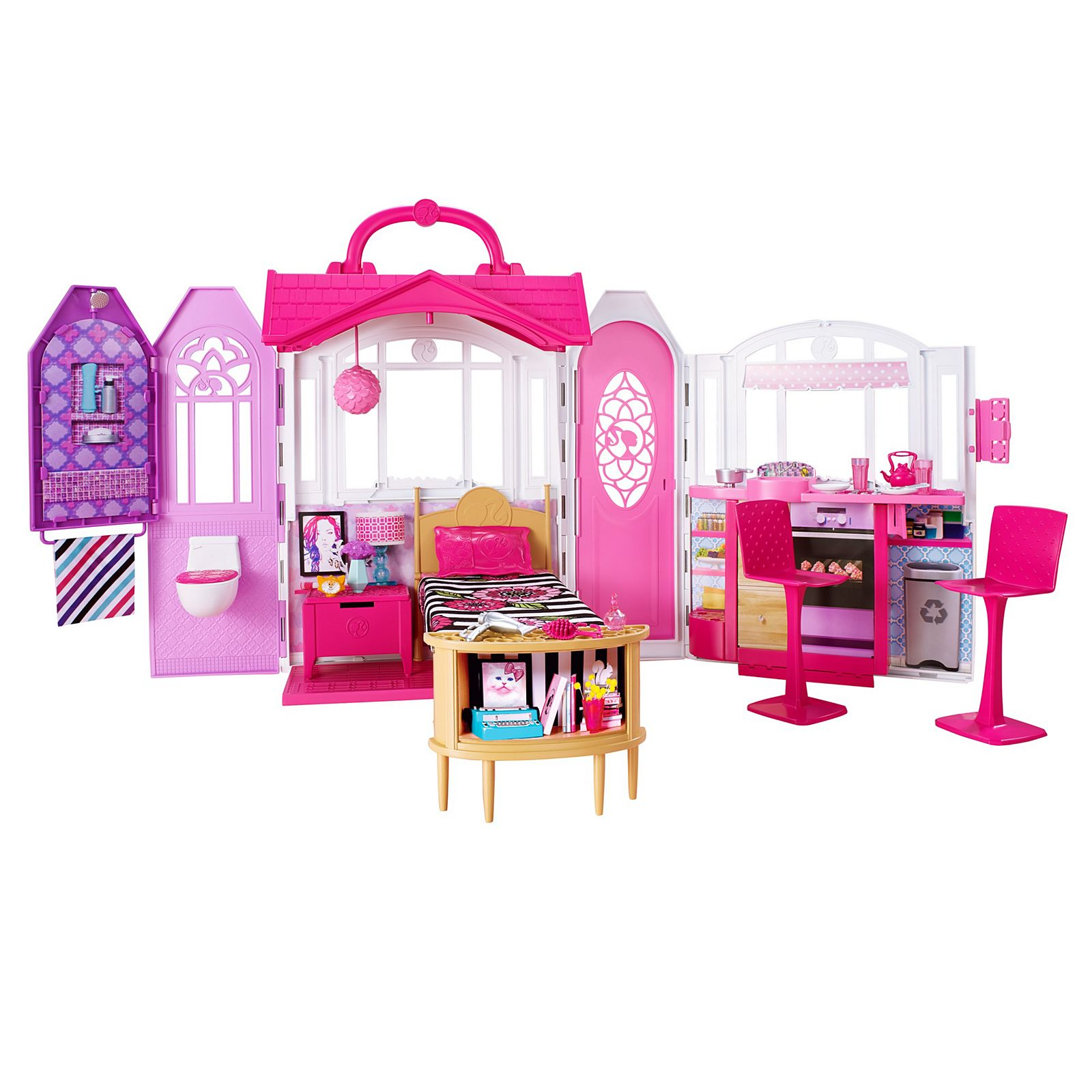 Barbie Glam Getaway House Girl Getaway Home Relax Doll Meal Stove Room Kid Child