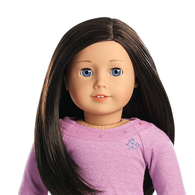 Light Skin Layered Black Brown Hair Blue Eyes American Girl