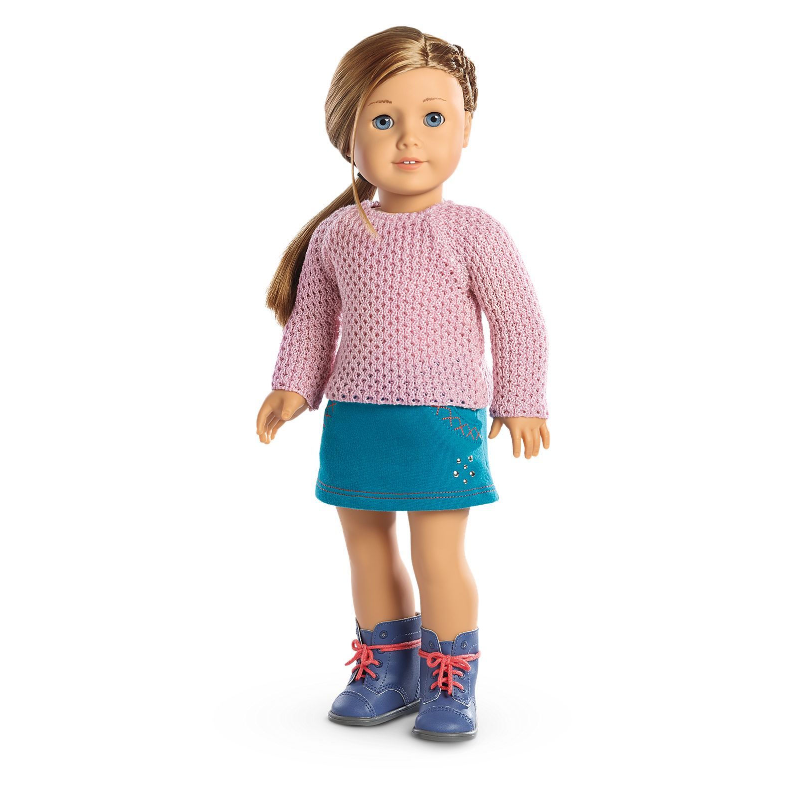 "Turquoise//White Stripe Knit Sweater for 18/"" Doll Clothes American Girl"