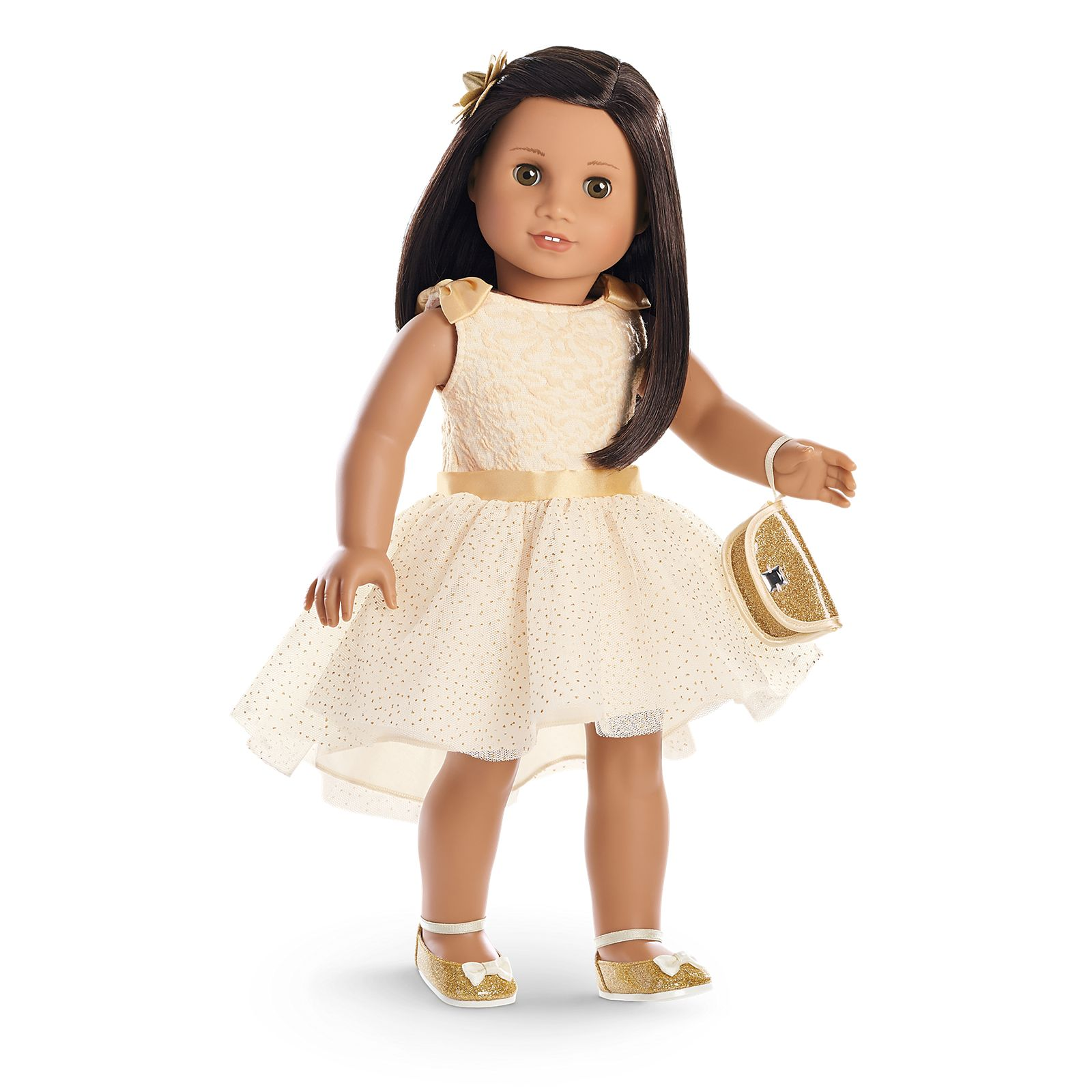 Ivory Slip On Dress Shoes with Flower Design Fits 18 inch American Girl Dolls