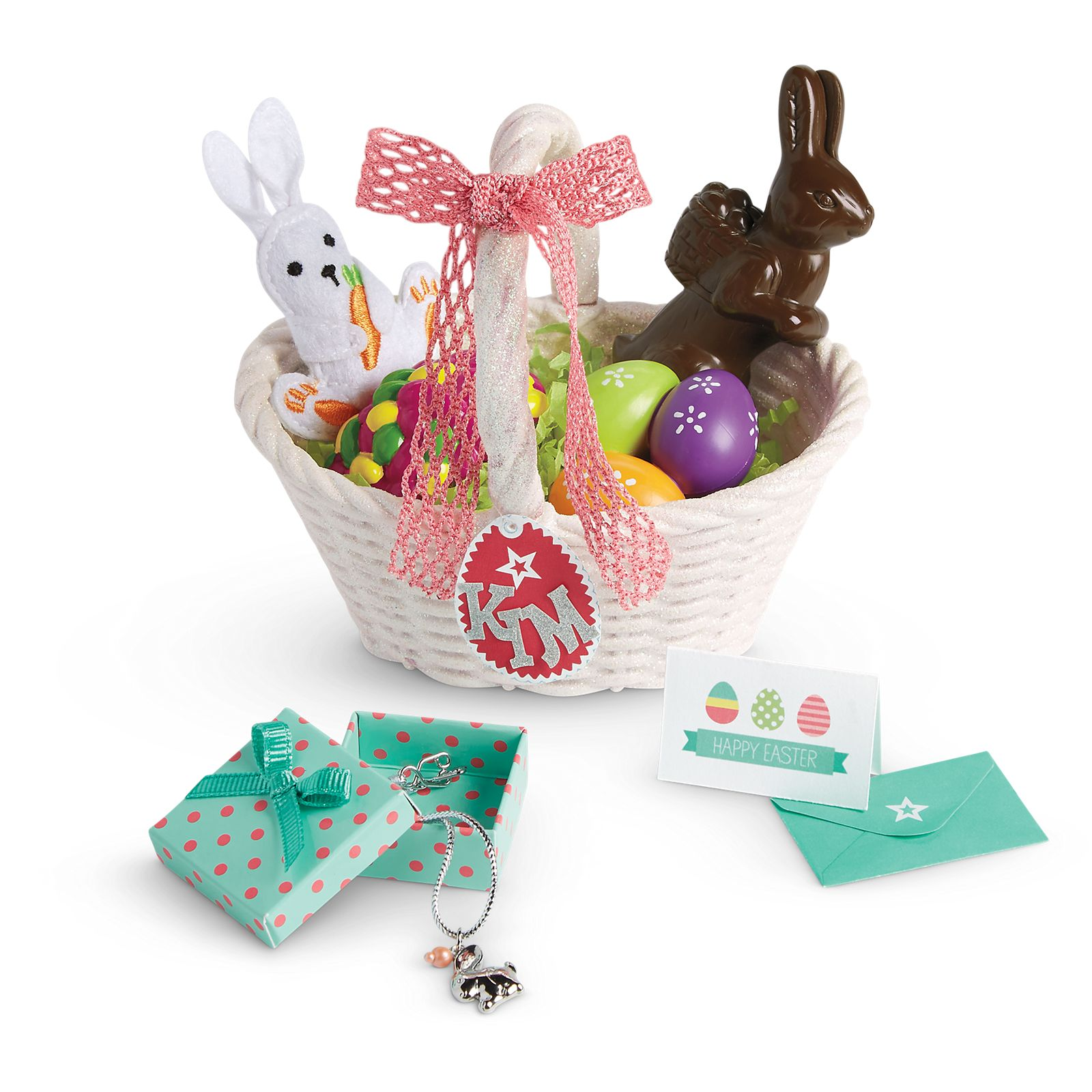 """New American Girl Doll Truly Me Easter Basket Bunny Set for 18/"""" Dolls"""