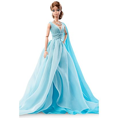 Barbie Fashion Model Collection Blue Chiffon Ball Gown Barbie Doll ...