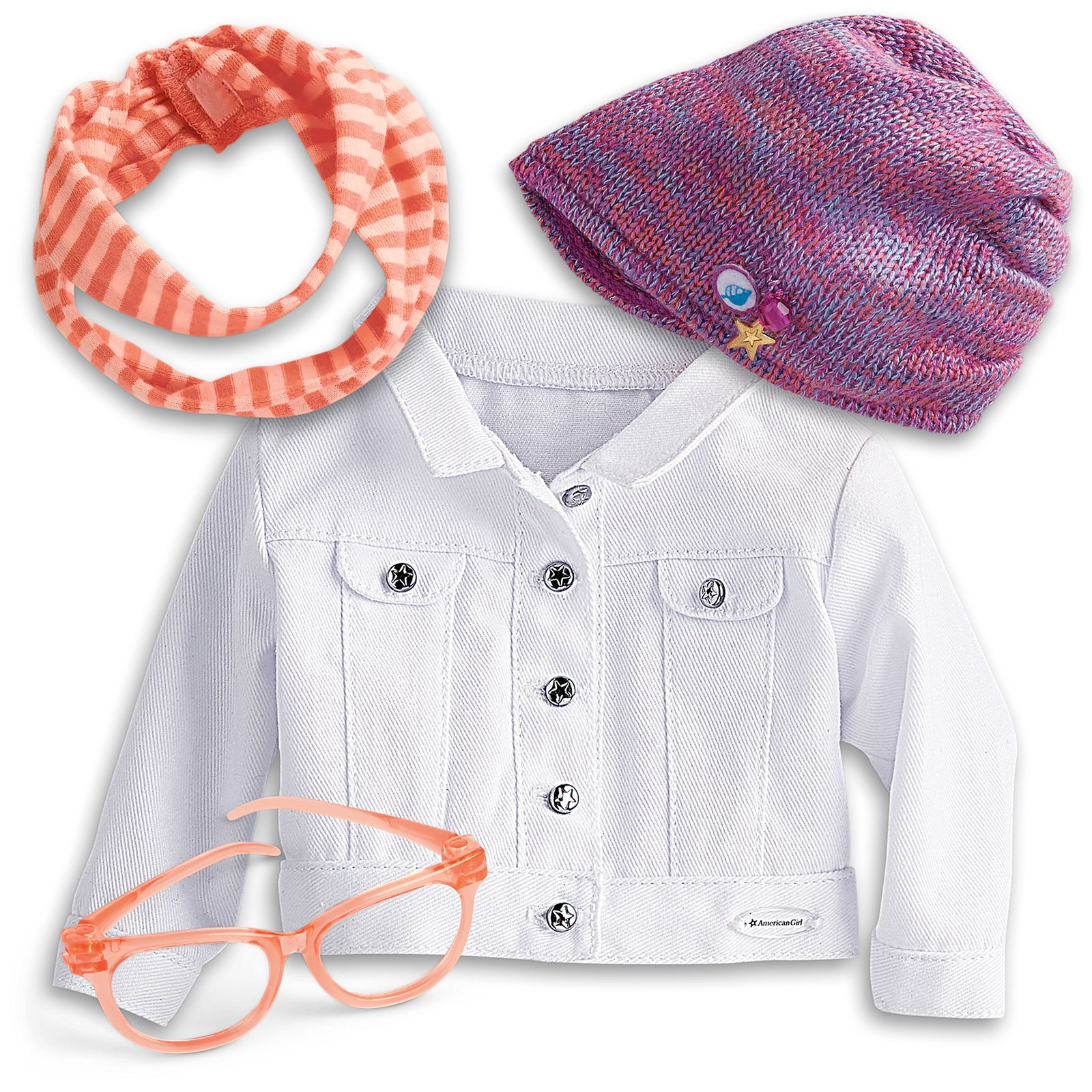 American girl set 2 of  hat /& scarf kit 18/'/' doll accessories from  Z Yang/'s