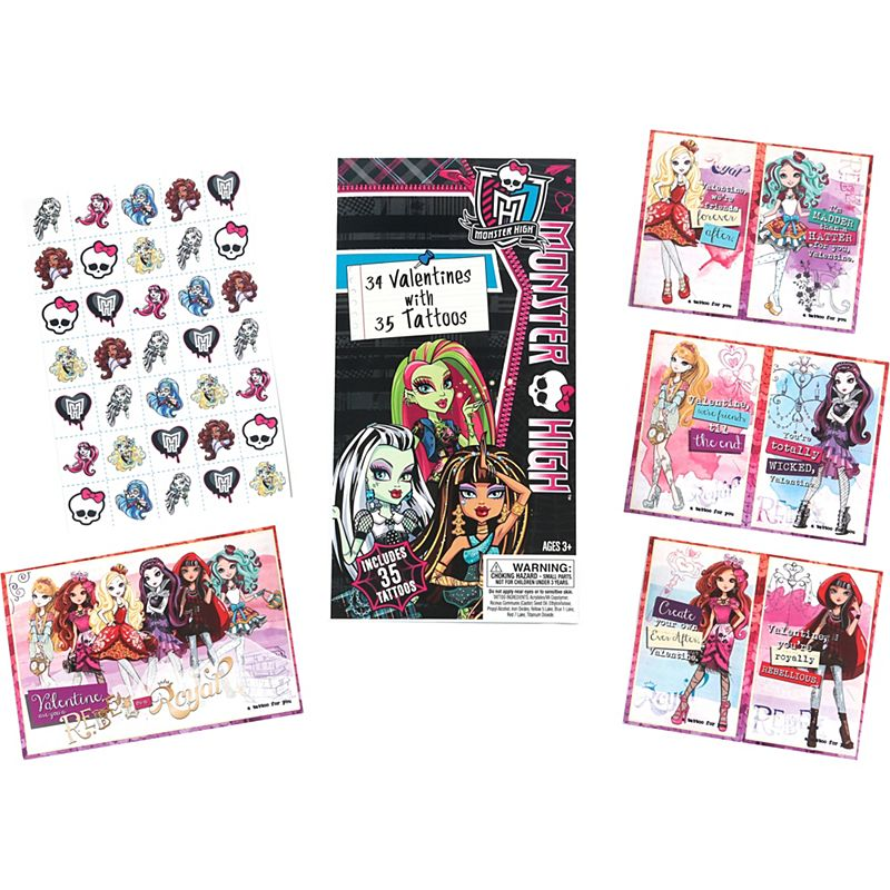 Monster High Valentine Exchange Cards With Tattoos 34ct Pc00207