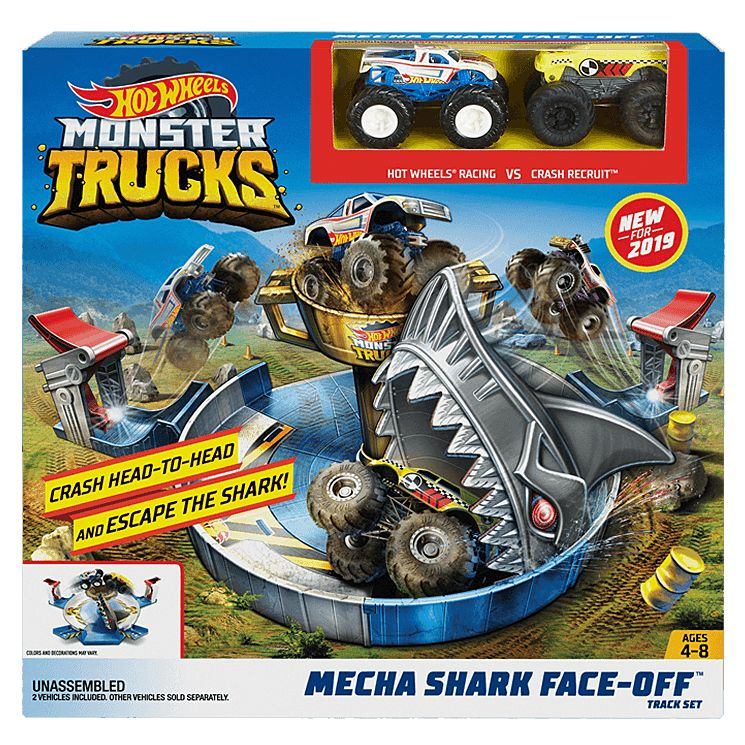 Hot Wheels Monster Trucks Mecha Shark Face Off Play Set Fyk14 Mattel